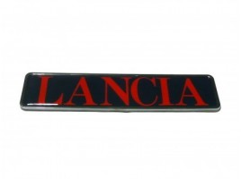 Targhetta posteriore plastica cromata Lancia rossa